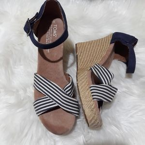 Toms blue and cream striped wedge sandals
